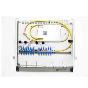12 Port Rack Mount (1RU) w/2x6 SC Adapter Plates, w/1x12 Fiber Splice Tray, 3 Meter Pigtail