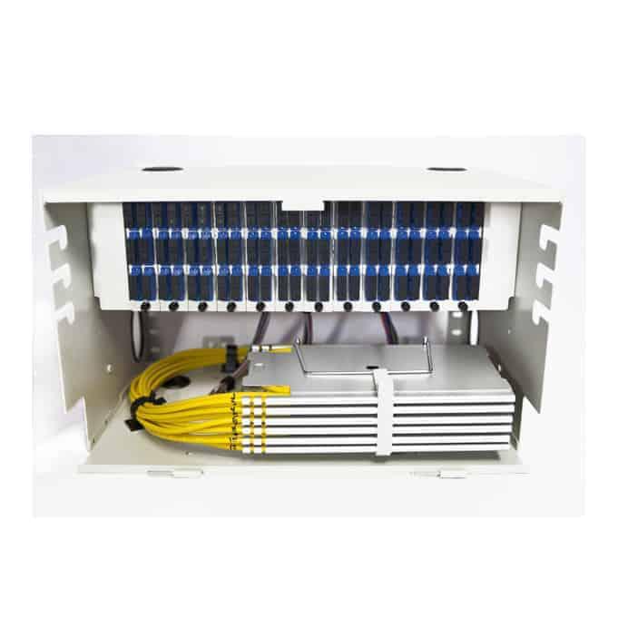 144 Port Rack Mount (6RU) w/12x12 SC Duplex Adapter Plates, w/6x24 Fiber Splice Trays, 3 Meter Pigtails