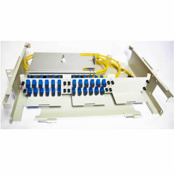 24 Port Rack Mount (2RU) w/4x6 SC Adapater Plates, w/2x12 Fiber Splice Trays, 3 Meter Pigtails