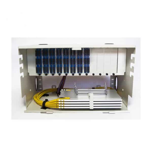 96 Port Rack Mount (6RU) w/8x12 SC Duplex Adapter Plates, w/4X24 Fiber Splice Trays, 3 Meter Pigtails