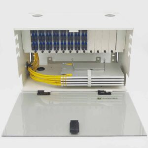 144 Port Rack Mount (6RU) w/12×12 SC Duplex Adapter Plates, w/6×24 Fiber Splice Trays, 3 Meter Pigtails