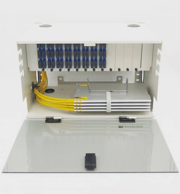 144 Port Rack Mount (6RU) w/12×12 SC Duplex Adapter Plates, w/6×24 Fiber Splice Trays, 3 Meter Pigtails