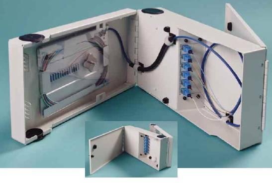 12 Port Single Door Wall Mount w/2x6 SC Adapter Plates, 1x12F Splice Tray, 1x12F SC/Open 3 meter Pigtail