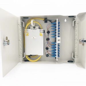 24 Port Dual Door Wall Mount w/4×6 SC Adapter Plates, 2x12F Splice Trays, 2x12F SC/Open 3 meter Pigtails