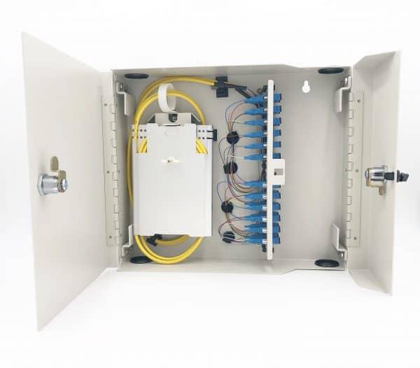 24 Port Dual Door Wall Mount w/4×6 SC Adapter Plates, 2x12F Splice Trays, 2x12F SC/Open 3 meter Pigtails