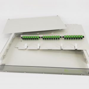 24 Port Rack Mount (1RU) w/3×8 SCAPC Adapter Plates (Beige)